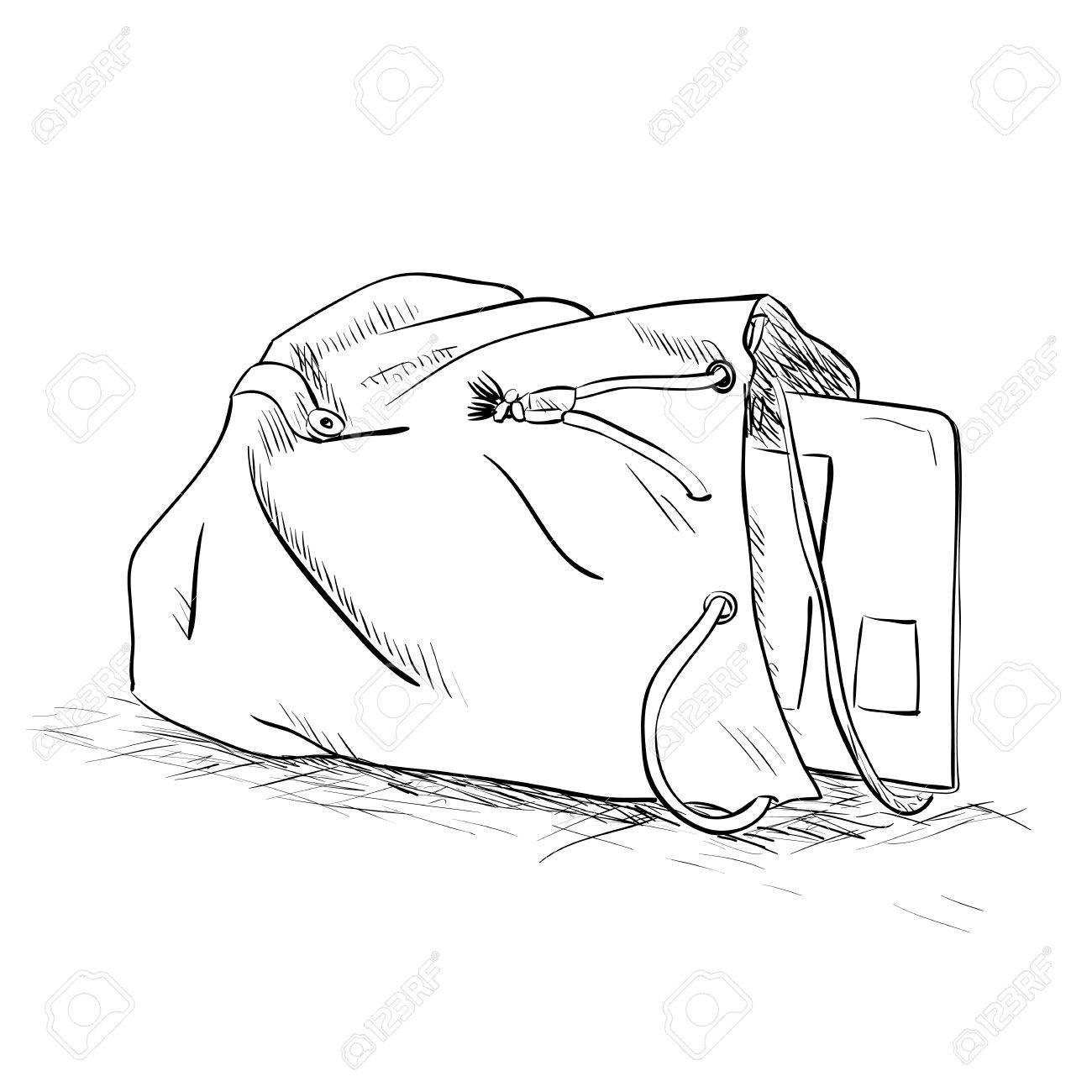 1300x1300 Vector Sketch Bag With A Tablet Inside. Hand Draw Illustration