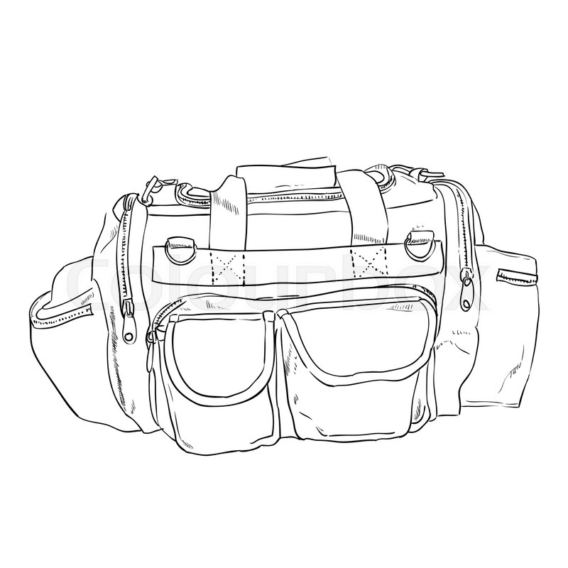 800x800 Vector Sketch Sports Bag With Pockets. Hand Draw Illustration