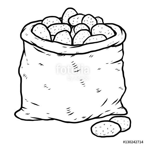 500x500 Potatoes Bag Cartoon Vector And Illustration, Black And White