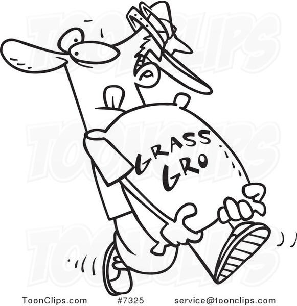 581x600 Cartoon Blacknd White Line Drawing Of Landscaper Carrying
