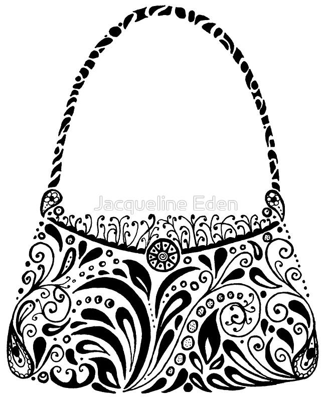 650x800 Handbag Doodle Stickers By Jacqueline Eden Redbubble