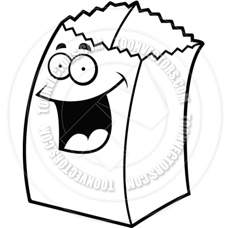 460x460 Paper Bag Smiling (Black And White Line Art) By Cory Thoman Toon