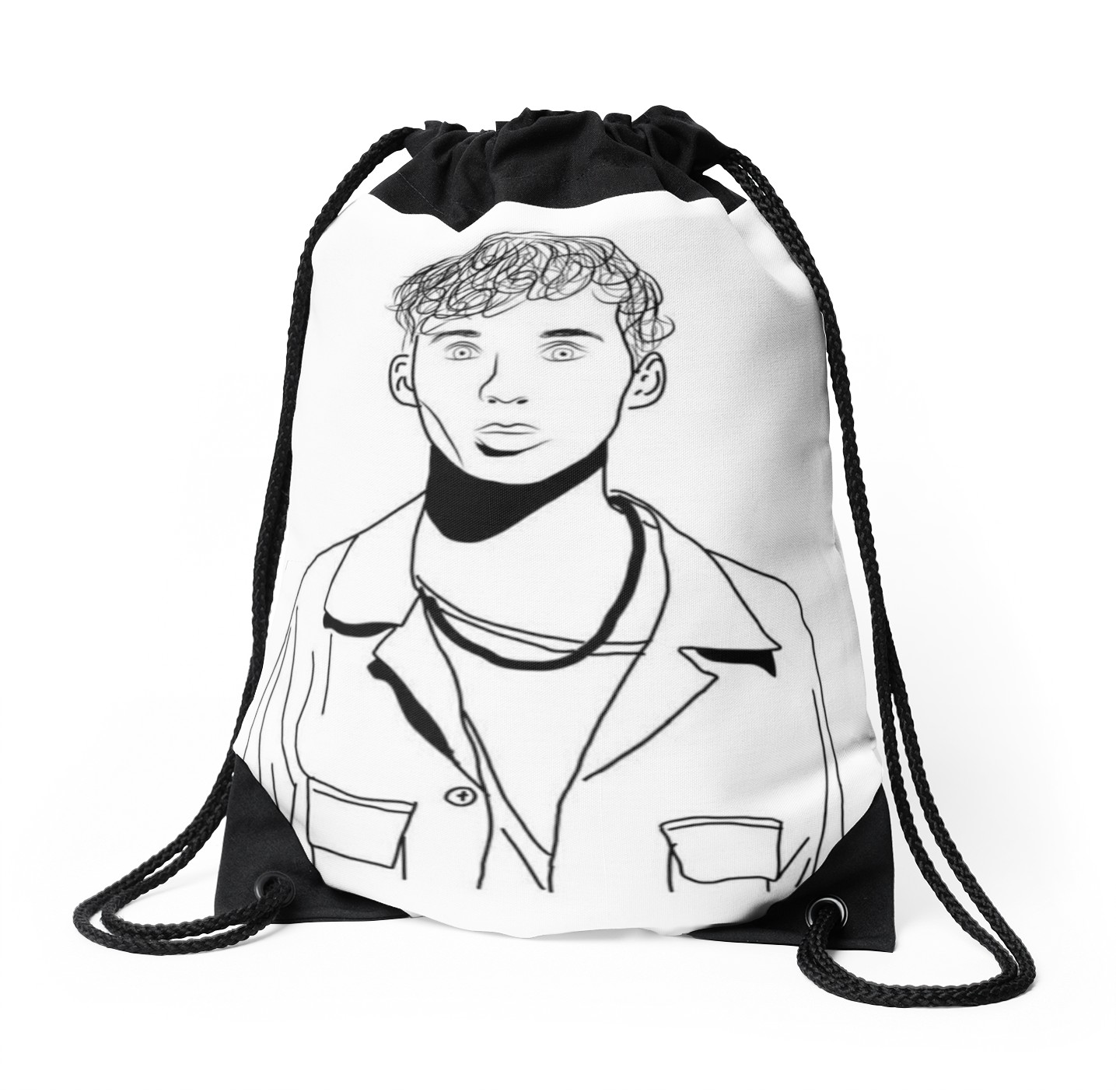 1435x1404 Troye Sivan Outline Drawing Drawstring Bags By Erin O'Leary