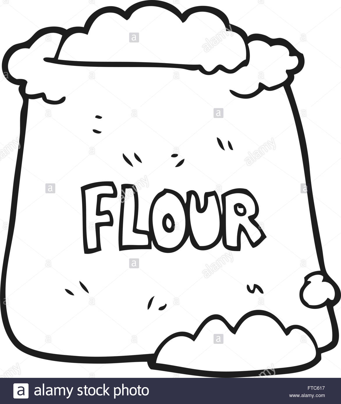 1172x1390 Freehand Drawn Black And White Cartoon Bag Of Flour Stock Vector