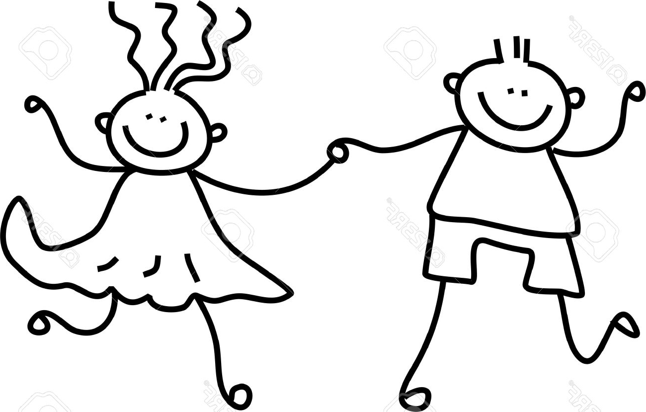 1300x829 Boy And Girl Holding Hands Drawing Boy And Girl With A School Bag