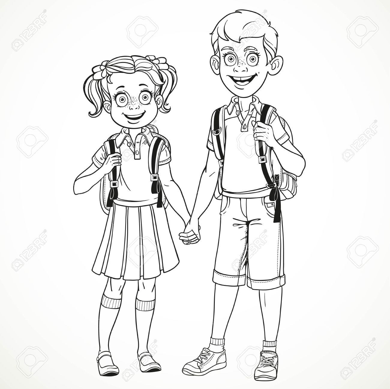 1300x1298 Boy And Girl With A School Bag Holding Hands Line Drawing Isolated