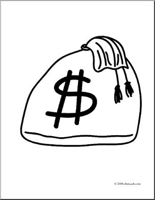 304x392 Clip Art Bag Of Money (Coloring Page) I Abcteach