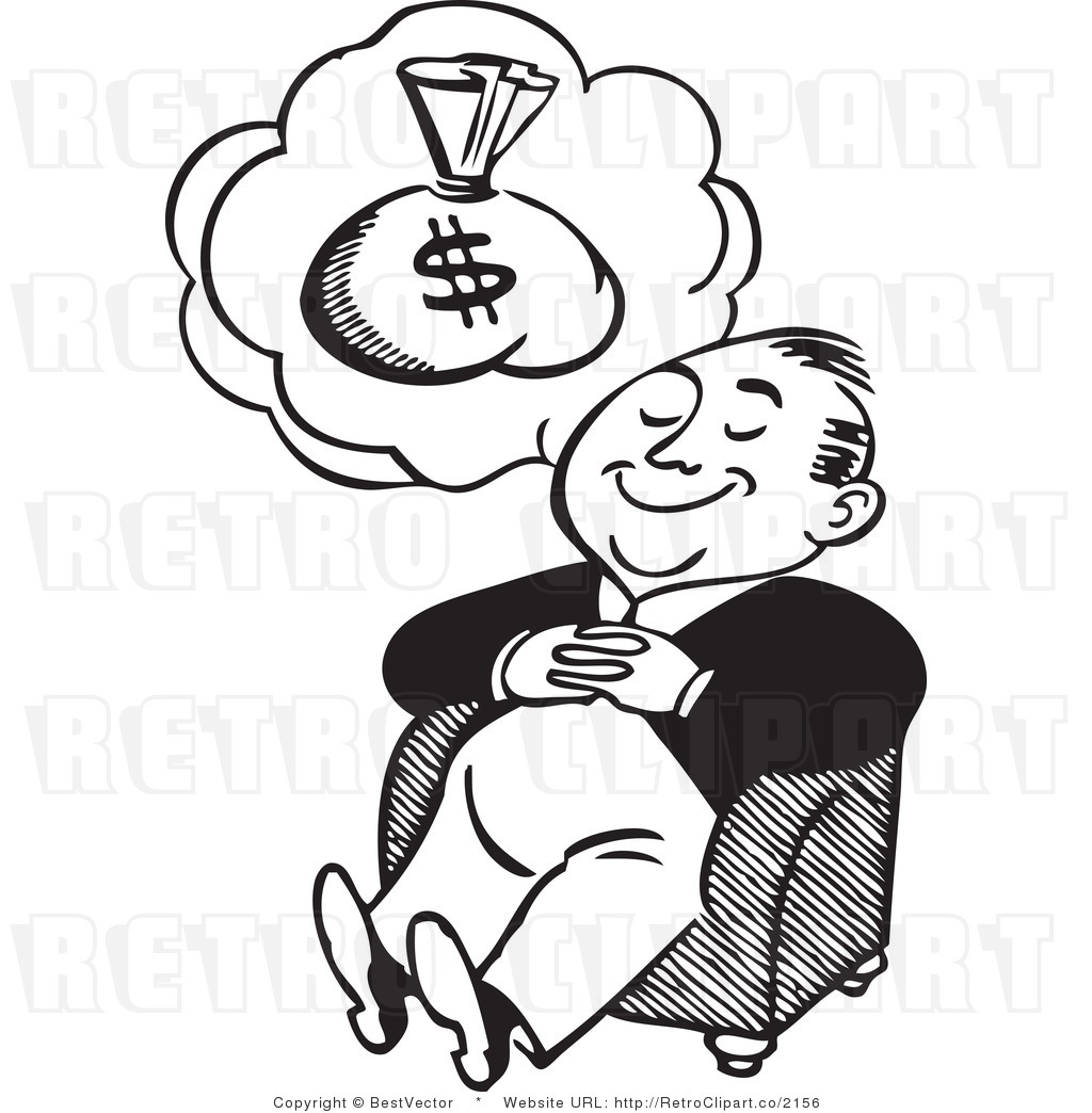 1024x1044 Happy Retro Man Dreaming About A Big Bag Of Money Bestvector