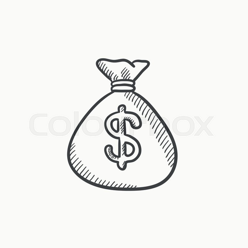 800x800 Money Bag Vector Sketch Icon Isolated On Background. Hand Drawn