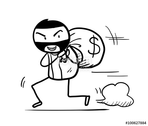 500x428 Money Theft Doodle, Hand Drawn Vector Doodle Illustration