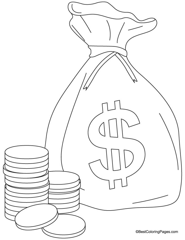 720x936 A Bag Of Coins Coloring Pages Download Free