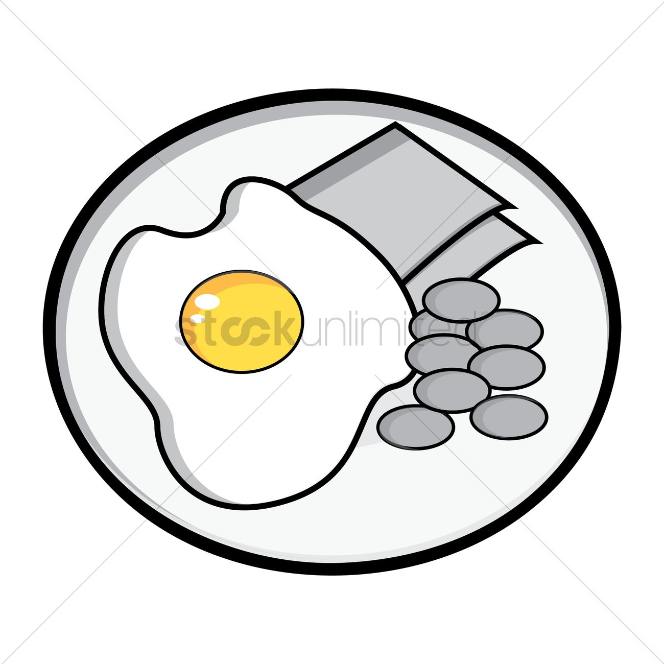 1300x1300 Egg, Baked Beans And Ham Breakfast Vector Image