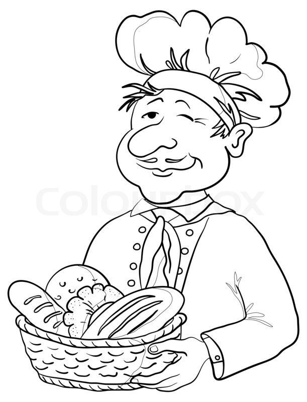 611x800 Baker With Bread Basket, Contour Stock Photo Colourbox