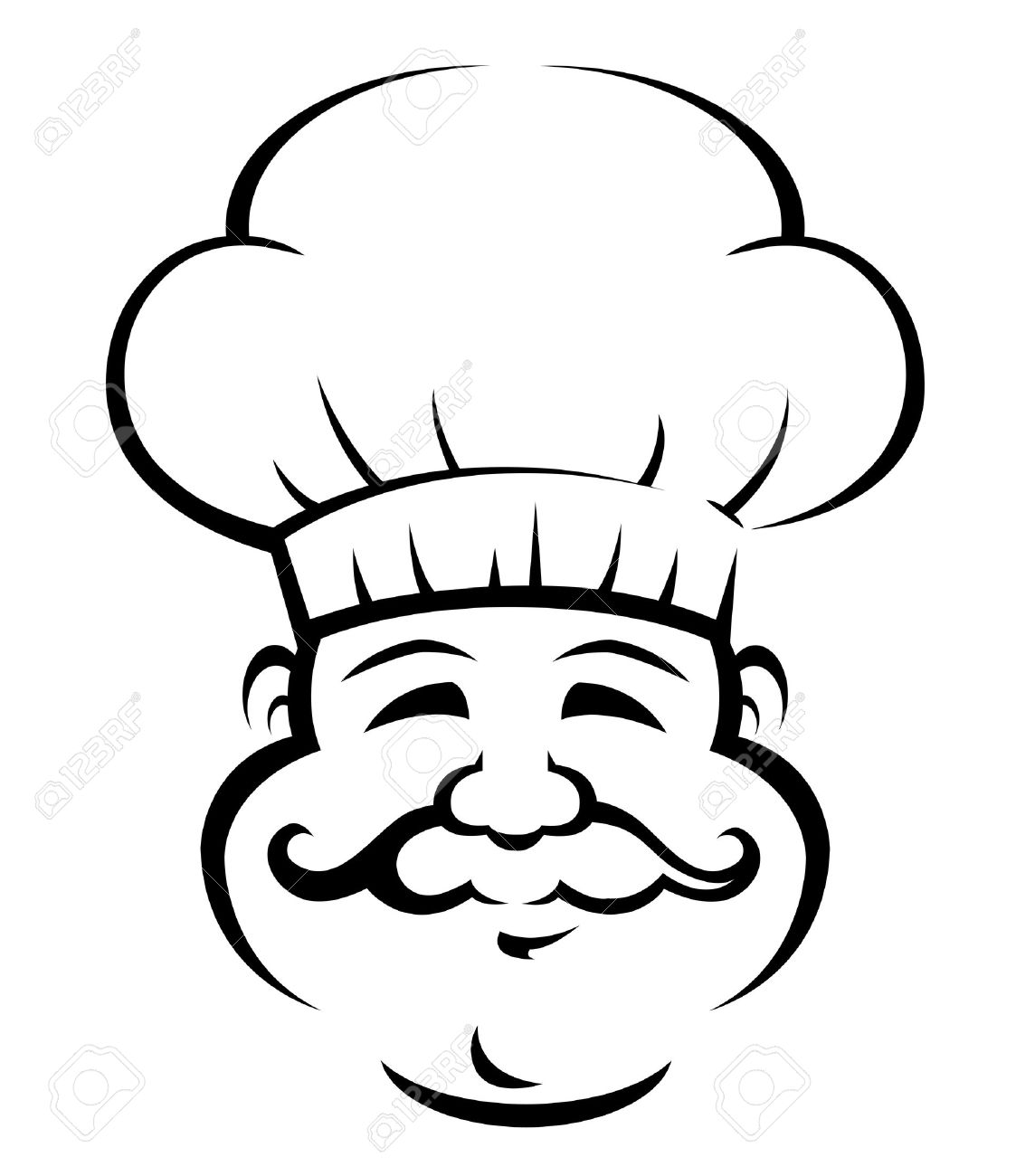 1123x1300 Black And White Doodle Sketch Of A Smiling Chef Or Baker