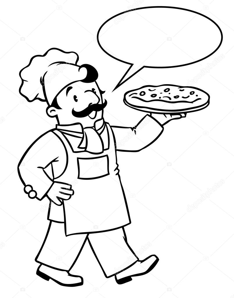 805x1023 Coloring Book Of Funny Baker Or Chef With Pizza Stock Vector