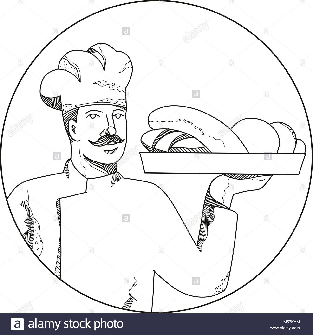 1300x1390 Drawing Style Illustration Baker Chef Stock Photos Amp Drawing Style