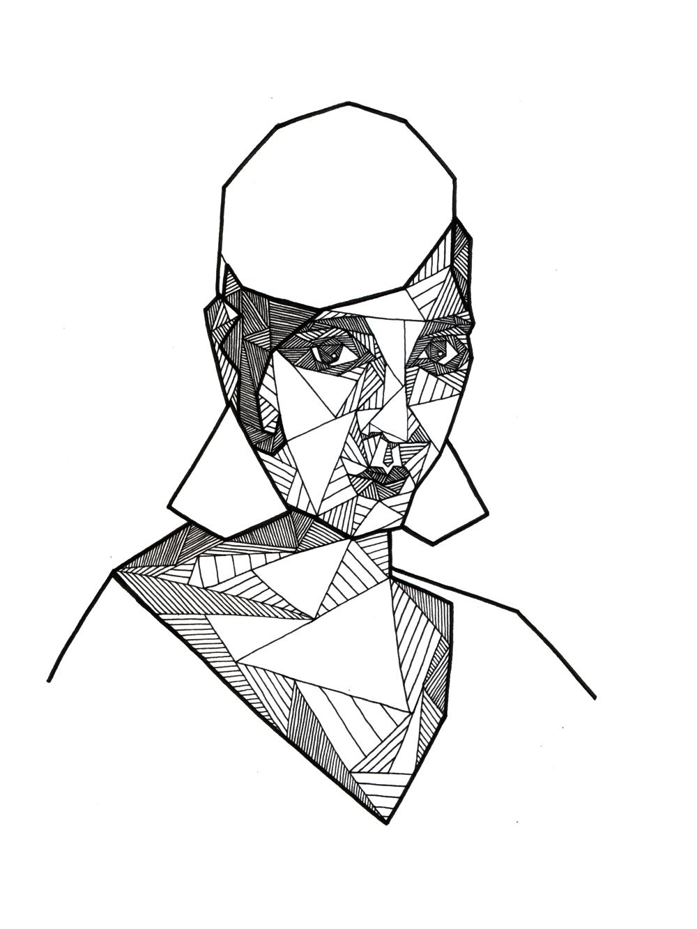 1000x1333 Geometric Portrait Of Josephine Baker By Allison Kunath Ink