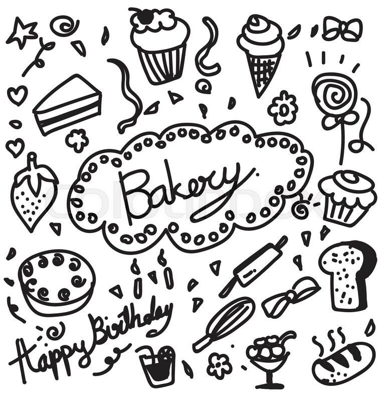 760x800 Bakery Doodle Stock Vector Colourbox