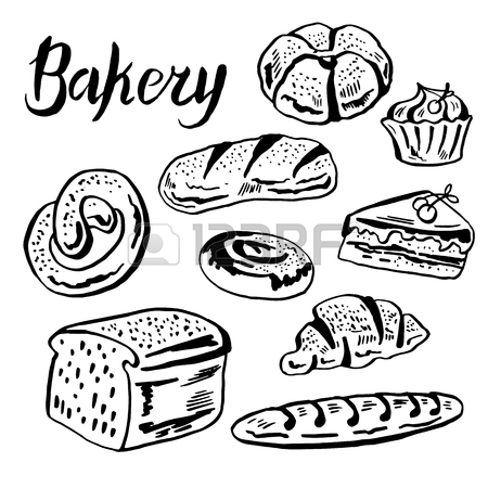 450x450 Ballpoint Pen Drawing Bakery Or Pastries Meal On Notebook Page