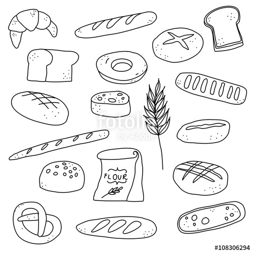 500x500 Bread Bakery Doodle Illustration Drawing Background Icon Stock