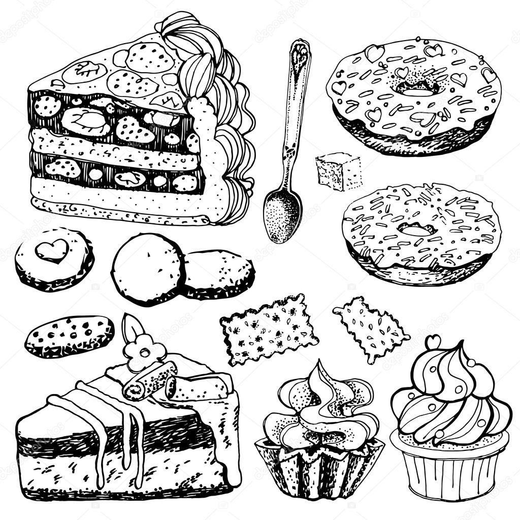 1024x1024 Collection Of Hand Drawn Bakery Goods Stock Vector Artsandra