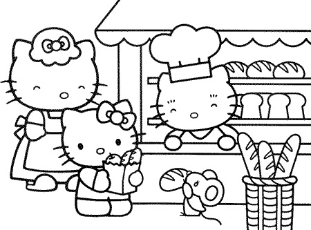 450x333 Hello Kitty Bakery Coloring Pages Coloring Pictures