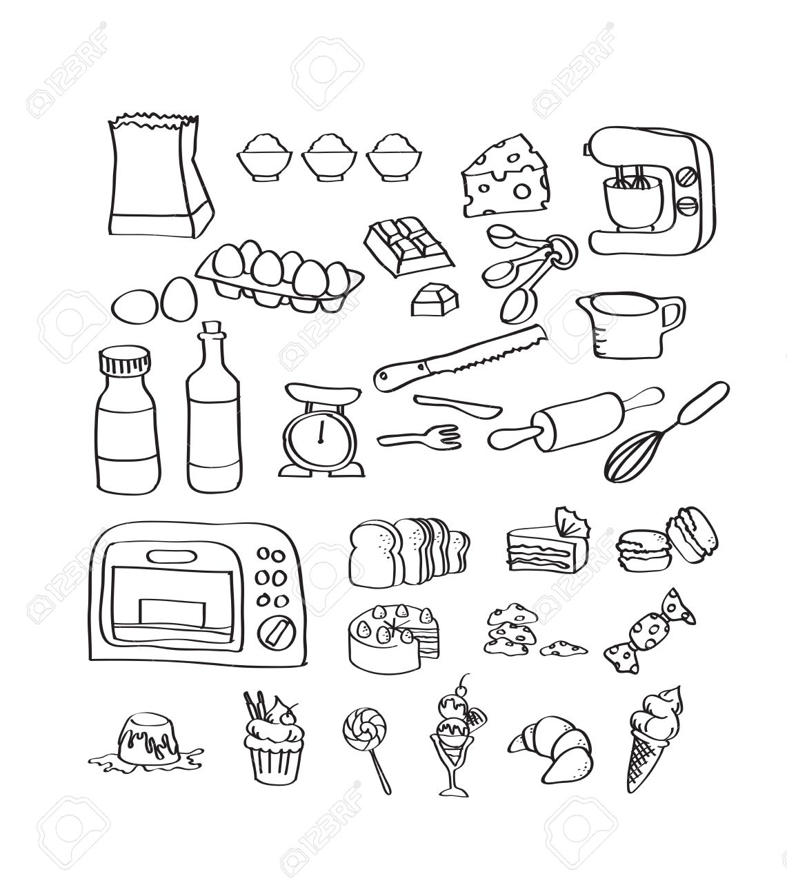 1141x1300 Mix Hand Draw Set Of Bakery Equipment And Dessert Icon Royalty