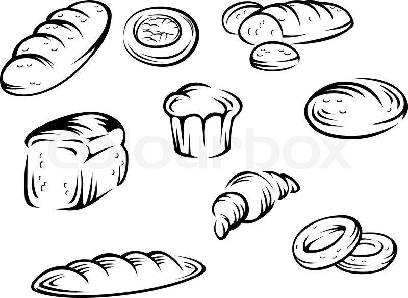 800x584 Set Of Bakery Elements For Food Design Vector Illustration Stock