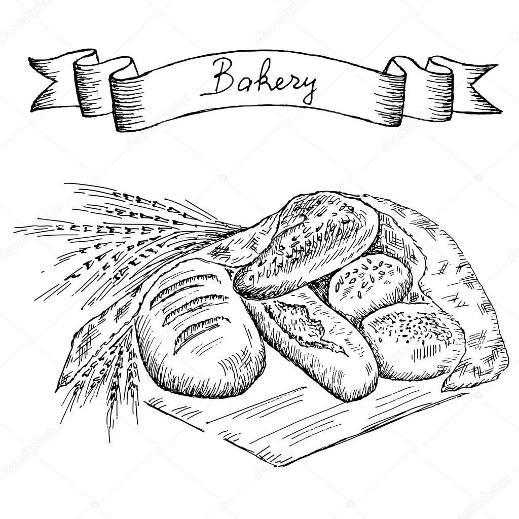 1024x1024 Bakery Set Stock Vector Lenaalyonushka
