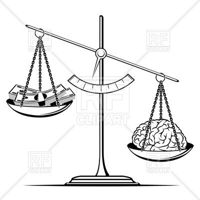 400x400 Money And Human Brain On Scales Royalty Free Vector Clip Art Image