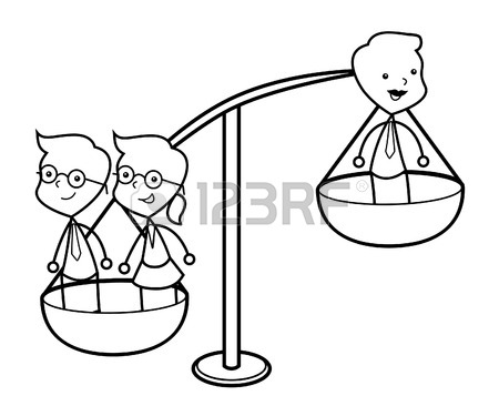 450x366 Scale Or Balance Weighing A Single Man Versus A Group Of Women