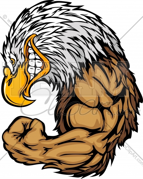 473x590 Bald Eagle Mascot Flexing Arms Cartoon Vector Clipart Image