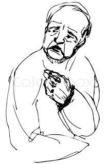 Bald Man Drawing