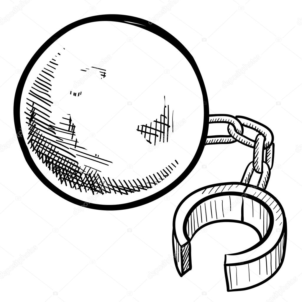 1024x1024 Ball And Chain Sketch Stock Vector Lhfgraphics
