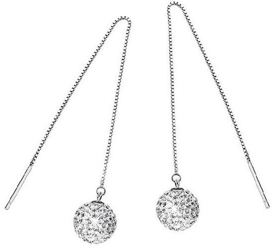 553x508 Fashion Women Girl Long Chain Drop Earrings 925 Sterling Silver