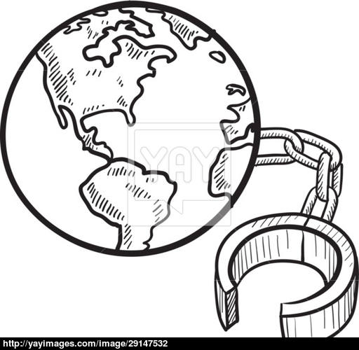 512x500 Global Ball And Chain Vector Sketch Vector