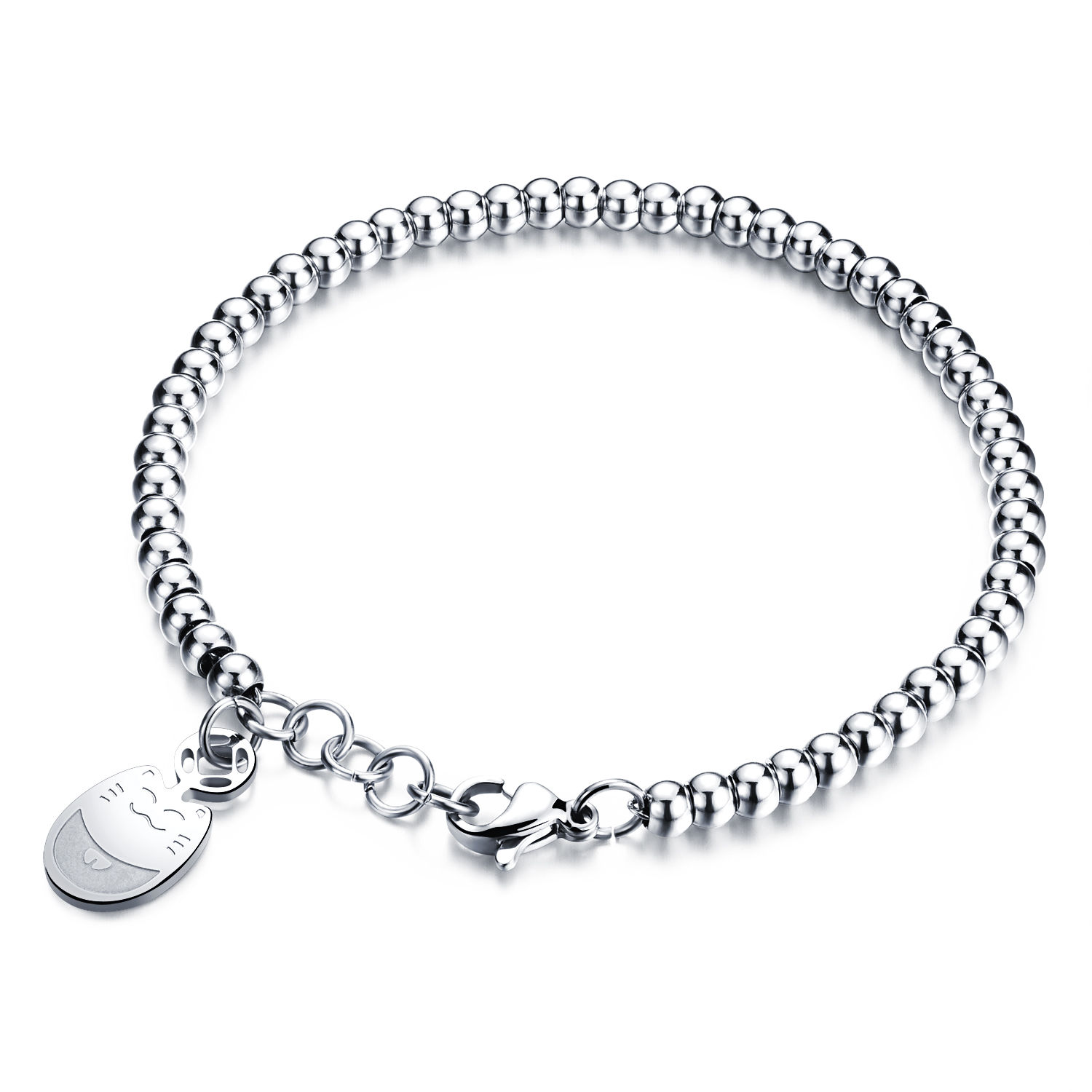 1500x1500 Stainless Steel Solid Ball Chain With Dolphins Charms Bracelet