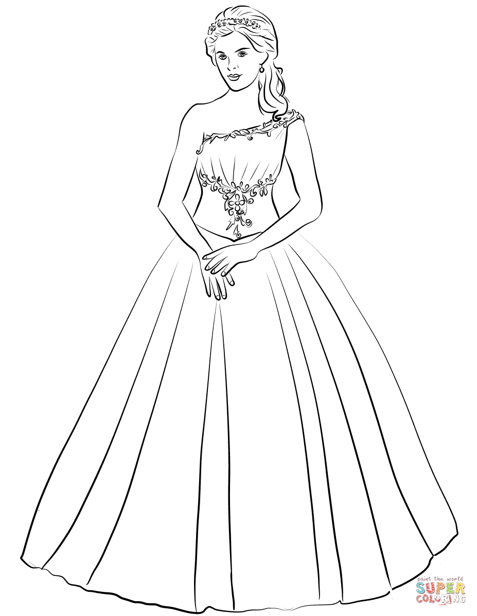 927x1197 Ball Gown One Shoulder Quinceanera Dress Coloring Page Free