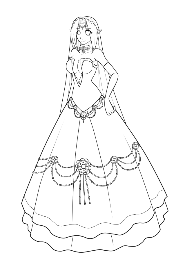 600x870 Ball Gown Time Lineart Ver. 2 By Elliyos