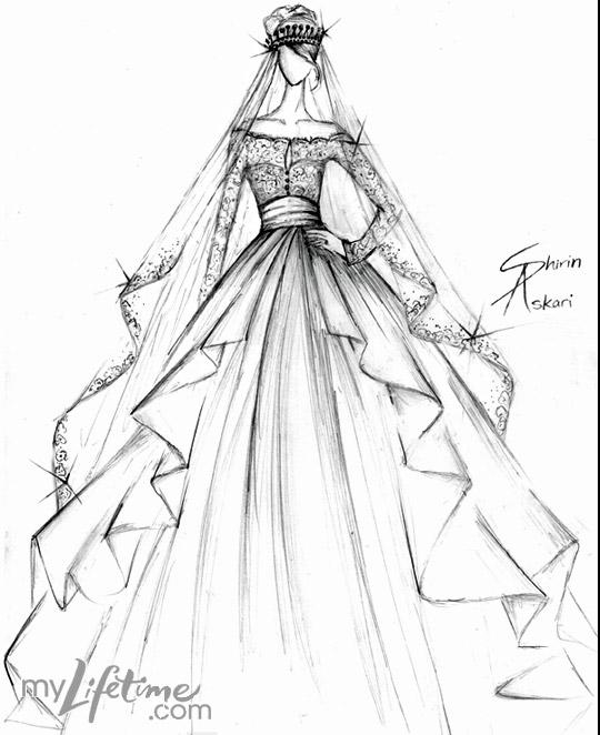 540x662 Ball Gown Wedding Dress Drawing
