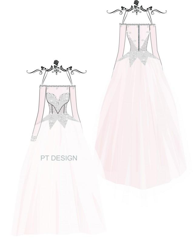 640x806 Custom Weddng Gown Sketch Long Sleeve Bridal Ball Gown