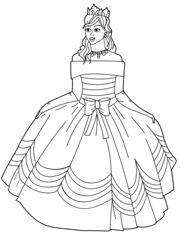 371x480 Princess In Ball Gown Off The Shoulder Dress Coloring Page Free