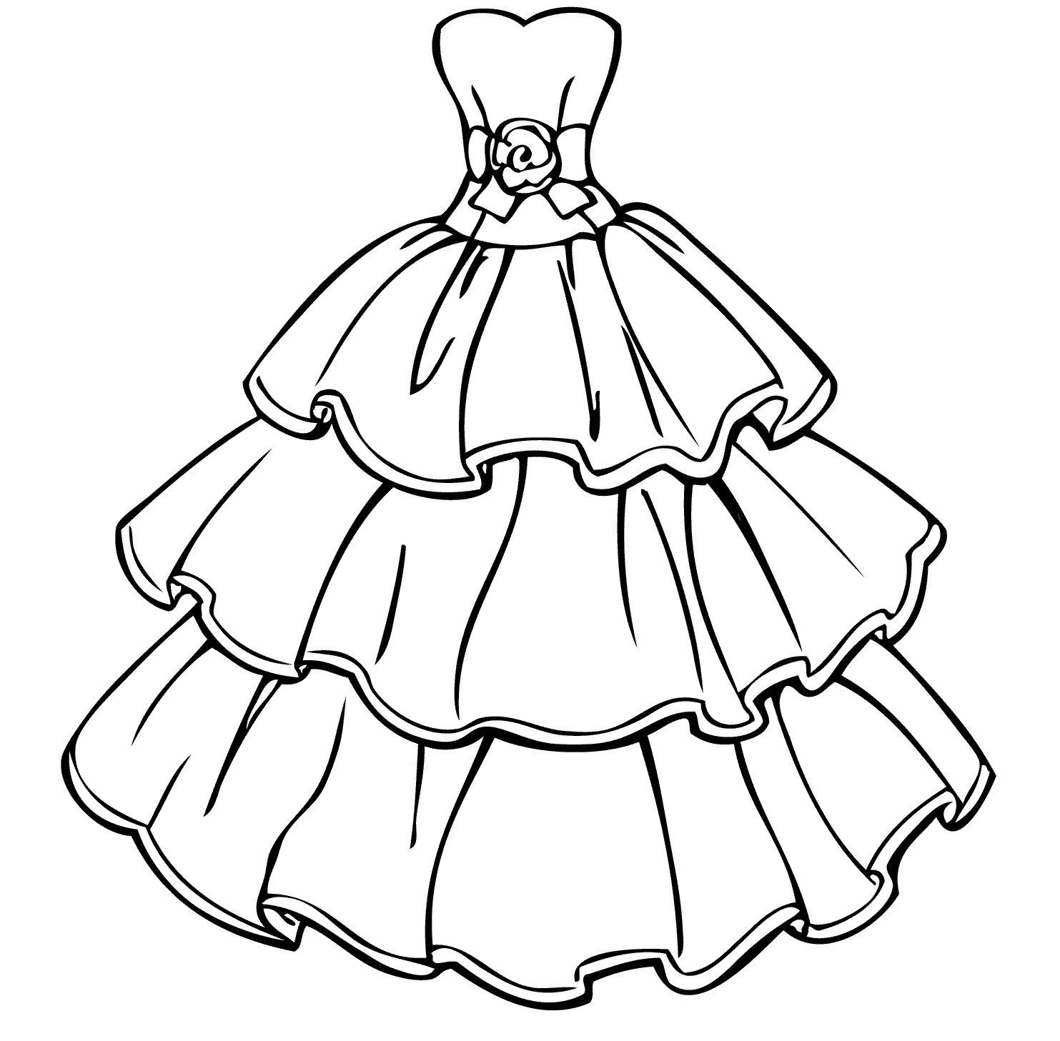 1483x1457 Ball Gown Coloring Page For Girls Elegant Drawn Gown Colouring