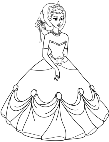 371x480 Princess In Ball Gown Dress Coloring Page Free Printable