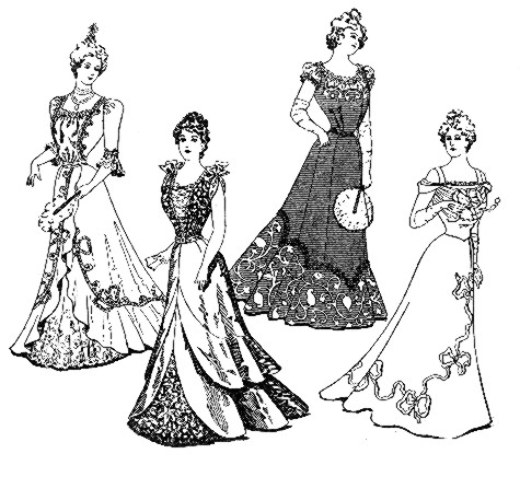 475x436 Vintage Victorian 1900s Evening Fashions