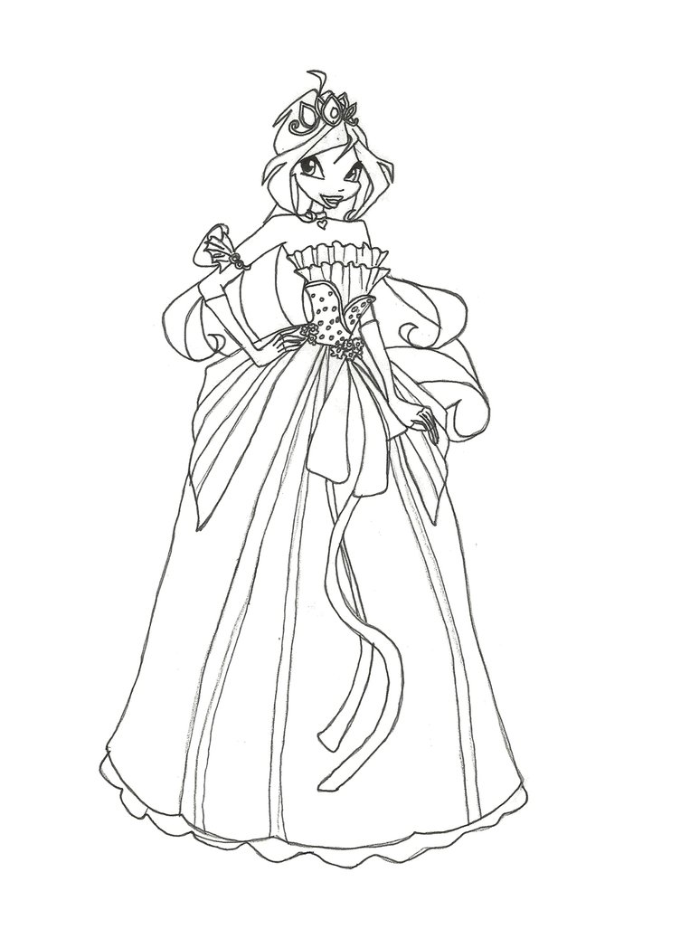 763x1048 Winx Club Ball Gown Bloom Coloring Page By Winxmagic237