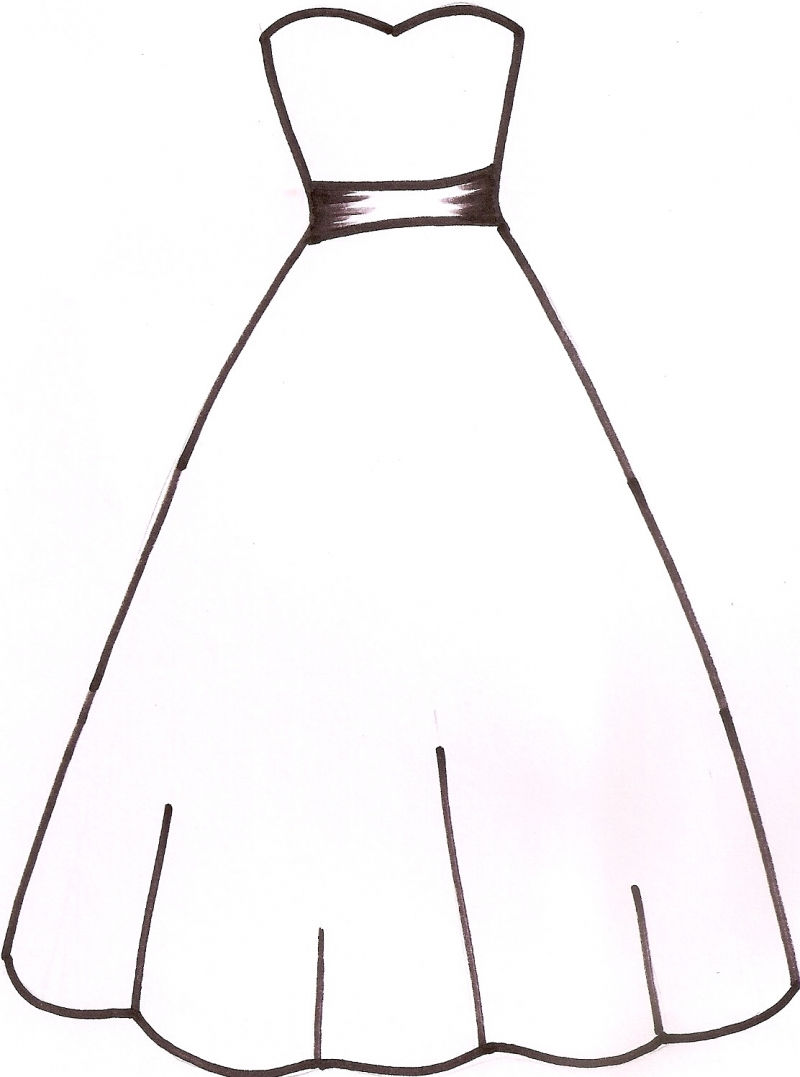 800x1077 Gown Dress Outline Clipart