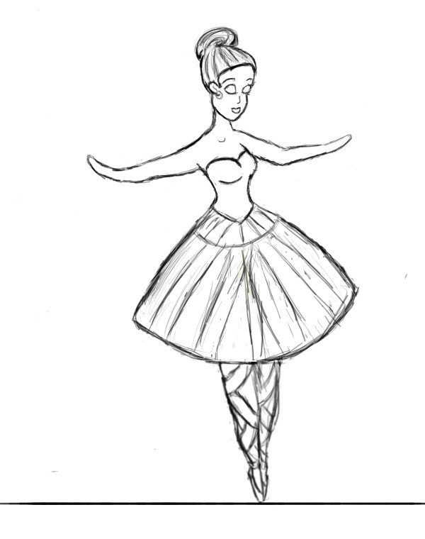 600x760 Ballerina Practice Sketch By Thinktink606432