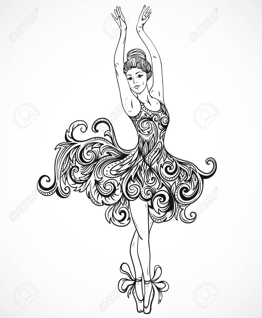 1070x1300 Ballerina With Floral Ornament Dress. Vintage Black And White