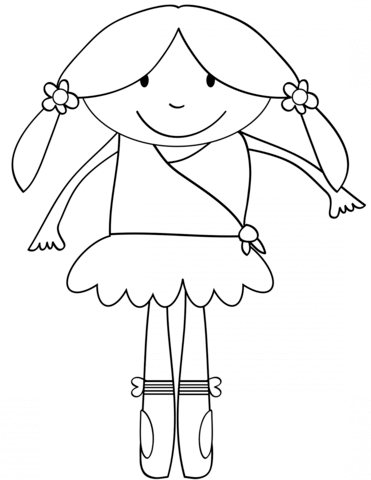 371x480 Cute Cartoon Ballerina Coloring Page Free Printable Coloring Pages